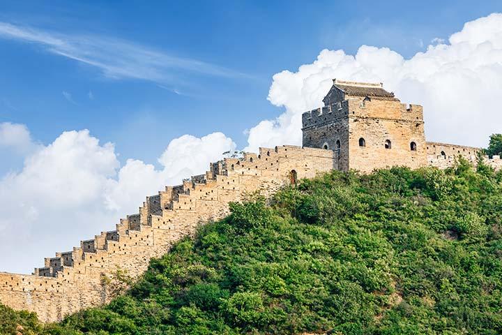 A grande muralha está em ruínas