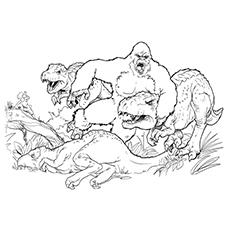 King Kong lutando com dinossauros para colorir