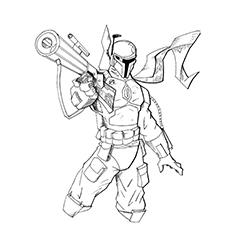 Boba Fett Coloring Page - Fett com seu rifle