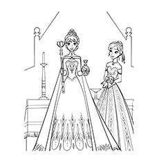 Elsa se preparando para sua coroação Frozen Coloring