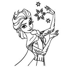 Desenhos para colorir Elsa Natal com flocos de neve