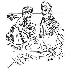 Anna e Elsa brincando com Olaf do lado de fora Página para colorir