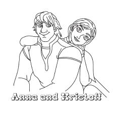 Anna e Kristoff sentados juntos para colorir