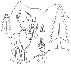 Desenhos de Personagens congelados Sven e Olaf para impressão
