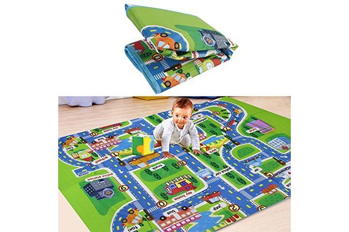 Para as crianças brincam brinquedo rastejando esteira crianças no tapete desenvolvimento bebê em espuma