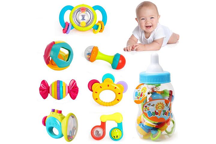 Liberty importa bebê de 7 peças de luxo chocalhos mordedor e agitadores em garrafa de leite