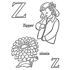Letra Z para colorir Zipper e Zinnia