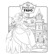 Desenhos de Princesa e o sapo para colorir