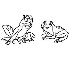 Desenhos de Naveen e Tiana como sapos para colorir gratuitamente