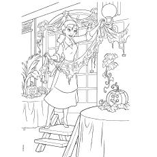 Tiana como garçonete da princesa e do sapo para colorir