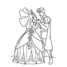 Princesa e Príncipe de mãos dadas para colorir