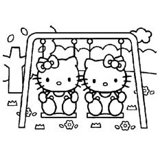 Olá gatinhos para colorir em um balanço