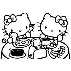 Kitty e Mimmy tomando café da manhã para colorir