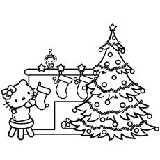 Colorir Hello Kitty para decoração de Natal