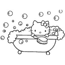 Hello Kitty gosta de um banho de espuma para colorir