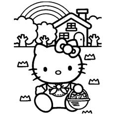 Desenhos para colorir Hello Kitty House