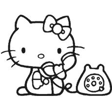 Kitty brincando com o telefone para colorir