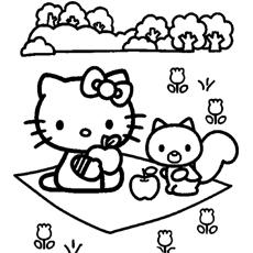 Desenhos para colorir Hello Kitty para piquenique