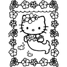 Little Kitty como uma sereia para colorir