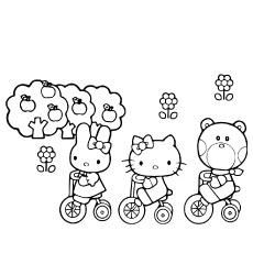 Olá Kitty e amigos para colorir