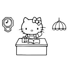 Desenhos para colorir Hello Kitty gratuitos trabalhando no escritório