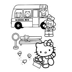 Hello Kitty e ônibus escolar em cores
