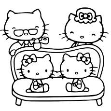 Coloração imprimível da família Hello Kitty linda