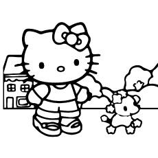 Folha imprimível de Hello Kitty brincando com cachorro para colorir