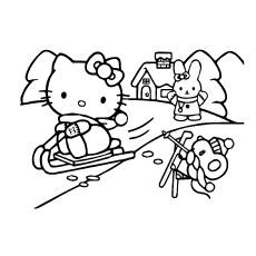 Hello Kitty desfrutando de patinação na neve com amigos para colorir
