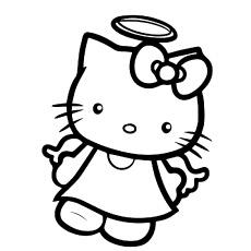 Hello Kitty como anjo para colorir para crianças