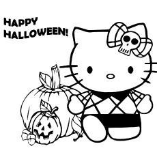 Imagens de Hello Kitty feliz dia das bruxas para colorir