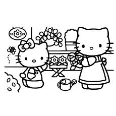 Hello Kitty na coloração imprimível do berçário