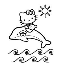 Hello Kitty brincando com golfinhos para colorir