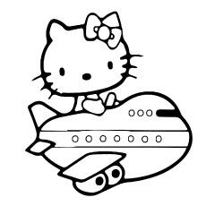 Fotos para impressão de Hello Kitty viajando de avião para colorir