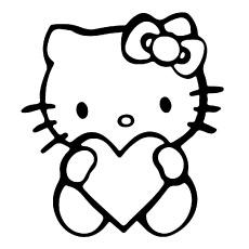 Hello Kitty com folhas de coloração de coração para imprimir para crianças