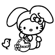 Hello Kitty com bolsa para colorir grátis