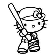 Hello Kitty jogando beisebol grátis para imprimir em cores