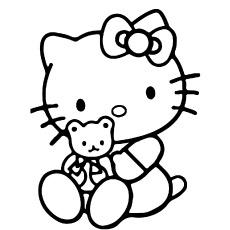 Olá Kitty desenho com ursinho de pelúcia