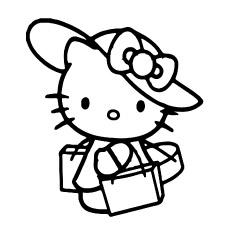 Desenho de Hello Kitty Shoping para colorir para crianças