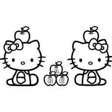 Hello Kitty com folhas de maçã imprimíveis para colorir