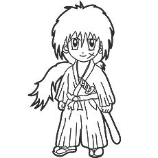 Desenho de Himura Kenshin para colorir