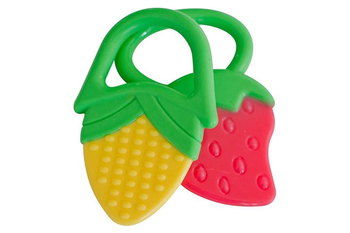 Anéis de Dentição para Bebês Morango e Brinquedos Mordedores de Milho - Pacote com 2