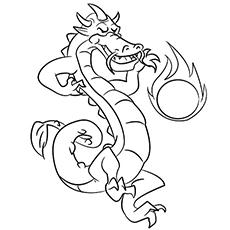 O-dragão-jogando-com-uma-bola de fogo