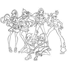 Desenho de Todas as fadas Winx Club para colorir