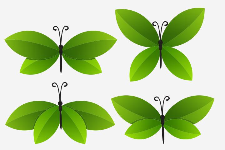 Folhas de borboleta artesanal