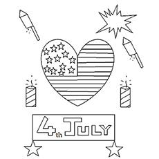 Fogos de artifício e bandeira em forma de coração no dia da independência dos Estados Unidos para colorir página