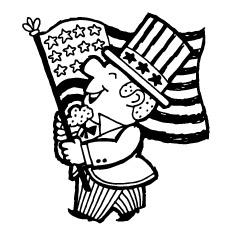 Desenho de 4 de julho Velho com bandeira e flores para colorir
