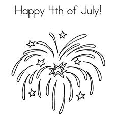 Página para colorir lindos fogos de artifício, acesa em 4 de julho