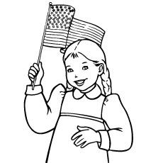 4 de julho Garota segurando uma bandeira na mão Página para colorir
