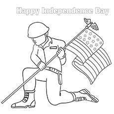 Soldado dos EUA EUA Com bandeira na mão Folha para colorir